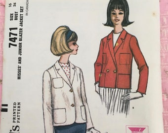Vintage 1960s Misses' & Junior Blazer Jacket Set Pattern / Ladies Casual Outerwear / McCall's 7471 Sewing Pattern / Vintage Clothing Pattern