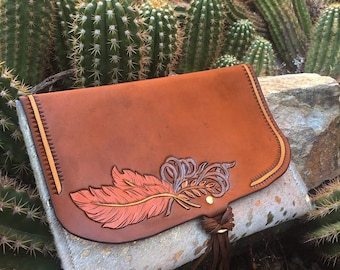 Copper feather clutch SALE