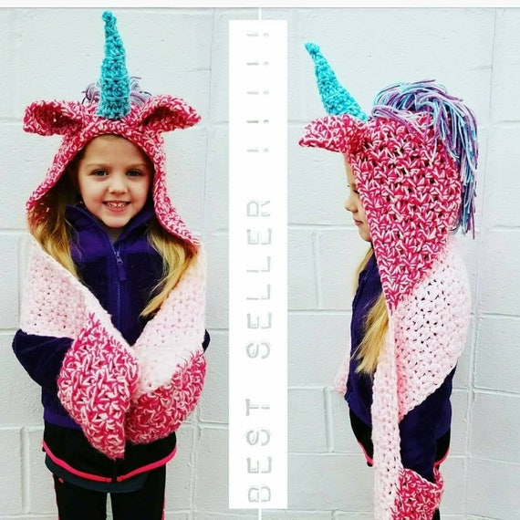 Customizable Crocheted Unicorn Hooded Pocket Scarf  My Little Pony Style  Magical Gift  Horse Hood Scarves  Pride Proud  Rainbow  Rave