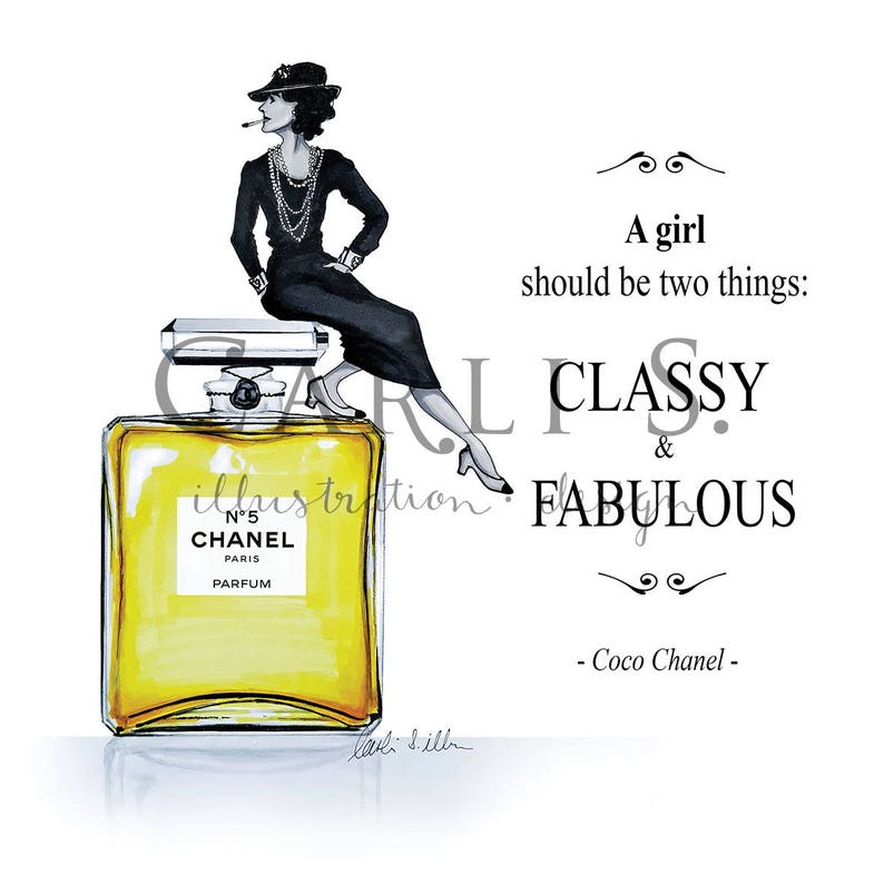 Coco Chanel Nº5 Zitat Illustration Print