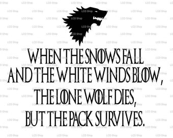 Game of Thrones, House Stark, Snows Fall, GOT SVG
