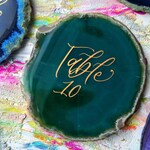 Green Agate Table Numbers with Calligraphy | Agate Slice Table Decor | Geode Table Numbers | Rock Table Numbers | Stone Table Numbers |