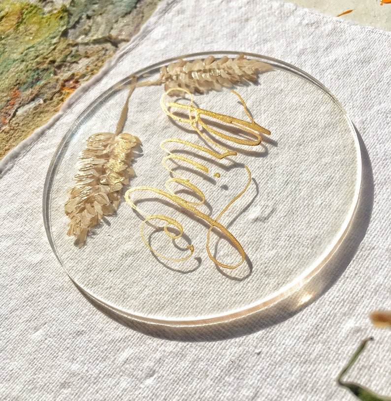 Transparent Place Cards Painted Place Cards See Through Painted Acrylic Place Cards Pampas Grass Place Cards Pampas Grass Wedding