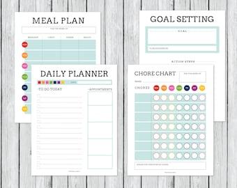 Meal Planner, Chore Chart, Goal Setting, Bullet Journal, Calendar, Journal Printable, Bujo Printable, Bullet Journal Pages, Planner