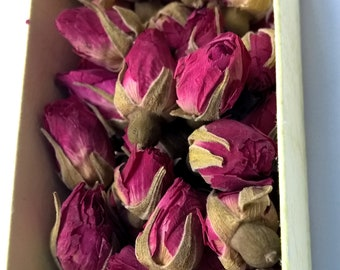 Dried rose buds for DIY - pink rose buds - 20-25 roses in the box - red roses - small rose buds - pressed flowers