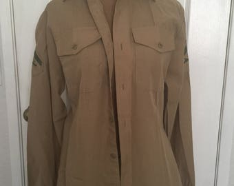 54a76755bf Vintage 80s Military Private Khaki Marksman Rifle Shirt Halloween Hipster