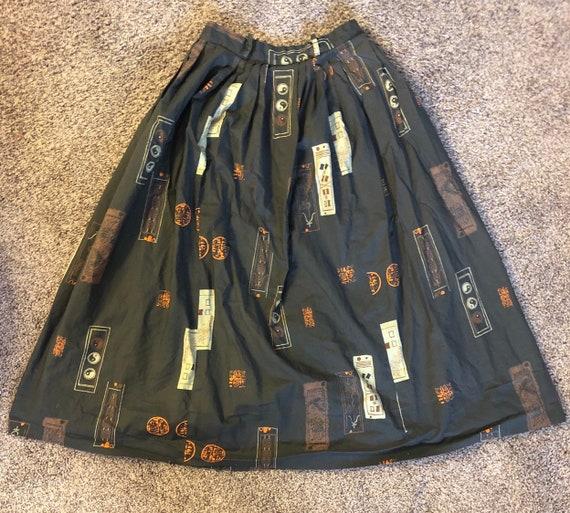 Vintage 50s Full Length Circle Skirt Asian Rockab… - image 1