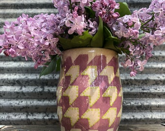 Handmade vase ceramic vase purple vase pottery gift farmhouse style