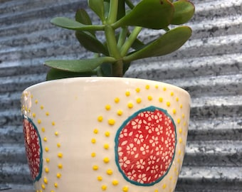 Planters yellow planter floral design red planter ceramic transfers succulent planter indoor planter outdoor planter
