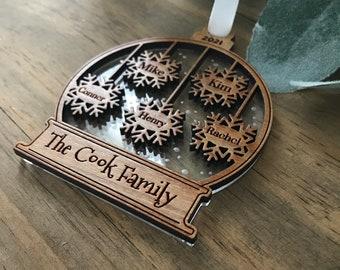 Snowflake Name ornaments, Children, Grandchildren, Family Names, Snowglobe Ornament, Acrylic backed