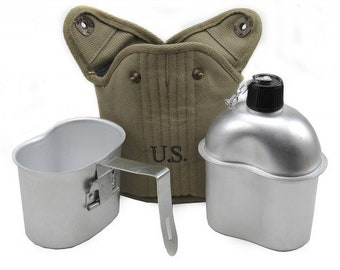 U.S. WW2 Canteen, Cover and Cup Set-LT OD JT&L 1943