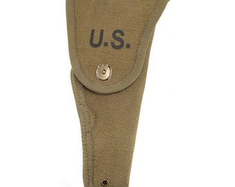 "U.S. WW2 M1916 Colt 1911 .45 Holster Marked ""JT&L"" ® OD Cotton Webbing Experimental M1 Holster"