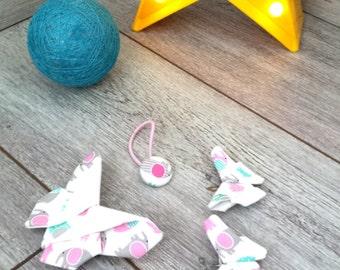 Batch girl hair accessories ~ printed fabric elephant gray/pink/turquoise