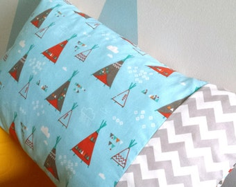 Boy pillow case, printed Teepees, room decoration