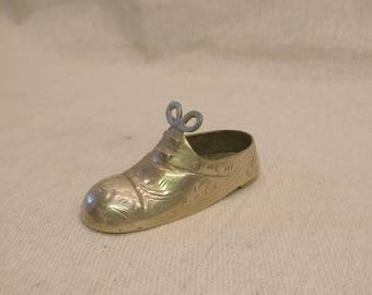 Vintage Solid Brass Shoe, ashtray, storage