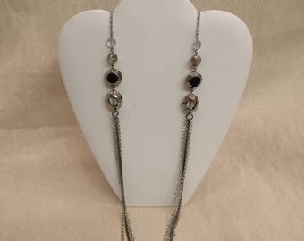 "Vintage M&S Necklace, 36"" long, Silver Tone, 4 chains"