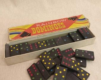 Vintage Rainbow Dominoes set, Made in England