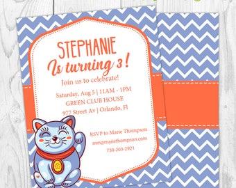Chinese invitation etsy cat chinese blue orange birthday invitation invite birthday party girl boy instant download stopboris Choice Image