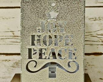 Joy Hope Peace Christmas Candle Holder