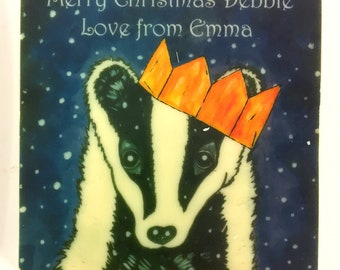 Chocolate Card Badger with Cracker Hat