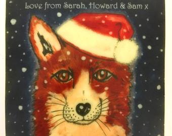 Chocolate Card Fox in a Santa Hat