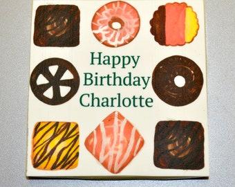 Chocolate Birthday Card Biscuit Design
