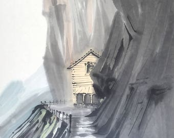 Chinese Painting, Swiss Cottage, Ink Painting, Original artwork.