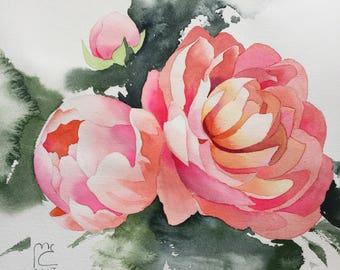 ORIGINAL. Watercolor. Peonies. Flowers.