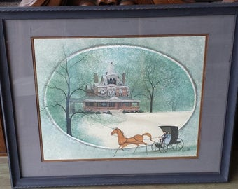 "P Buckley Moss Print, "" Indiana Seiberling Mansion"" Framed Matted Print, Limited Edition P Buckley Moss 1991, Signed & Numbered art print"