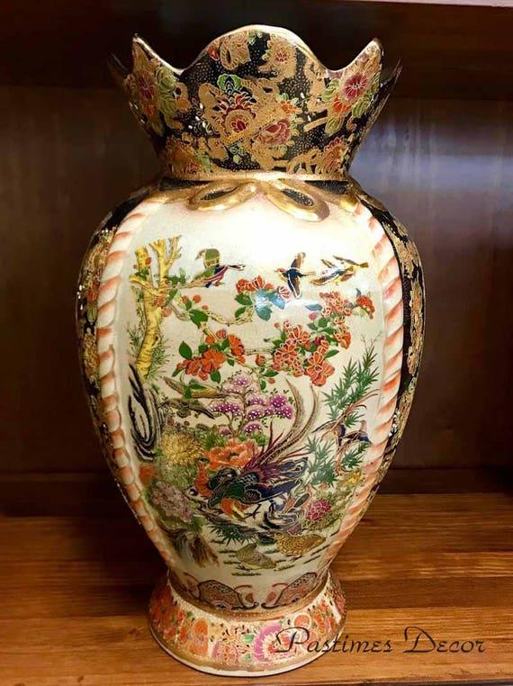 Asian Royal Satsuma Vase Porcelain Hand Painted Vintage Etsy