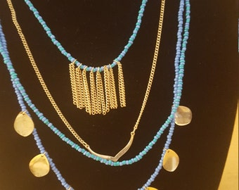 Tribal Jewelry Blue Beaded Necklace