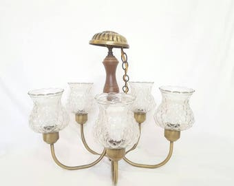 Vintage brass and glass chandelier, Brass Chandelier, Gold Chandelier, Glass vintage chandelier, vintage light fixtures
