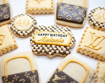 Louis Vuitton LV inspired sugar cookies (one dozen) // milestone birthday // free personalization