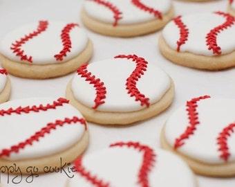 Baseball Sugar Cookies  (one dozen)