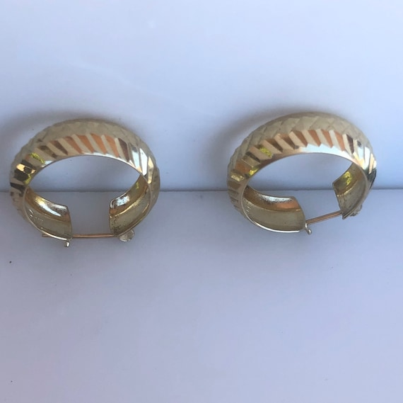 Chunky Hoops - Turkish Gold - Wide hoops -14K Yel… - image 3