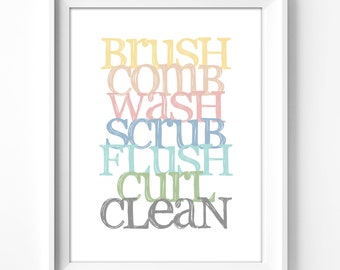 bathroom wall art, printable art, wall decor, bathroom, home decor, art print, graphic art, instant download, typography, bath