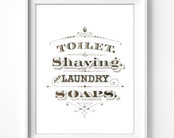 bathroom wall art, printable art, wall decor, bathroom, home decor, art print, graphic art, instant download,  typography, vintage art, bath