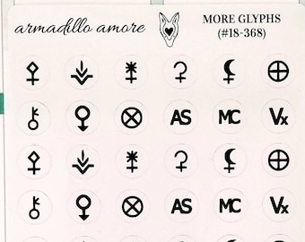 368 | Assorted Astrology Glyph Stickers {48 Fancy Matte or Glossy Planner Stickers}