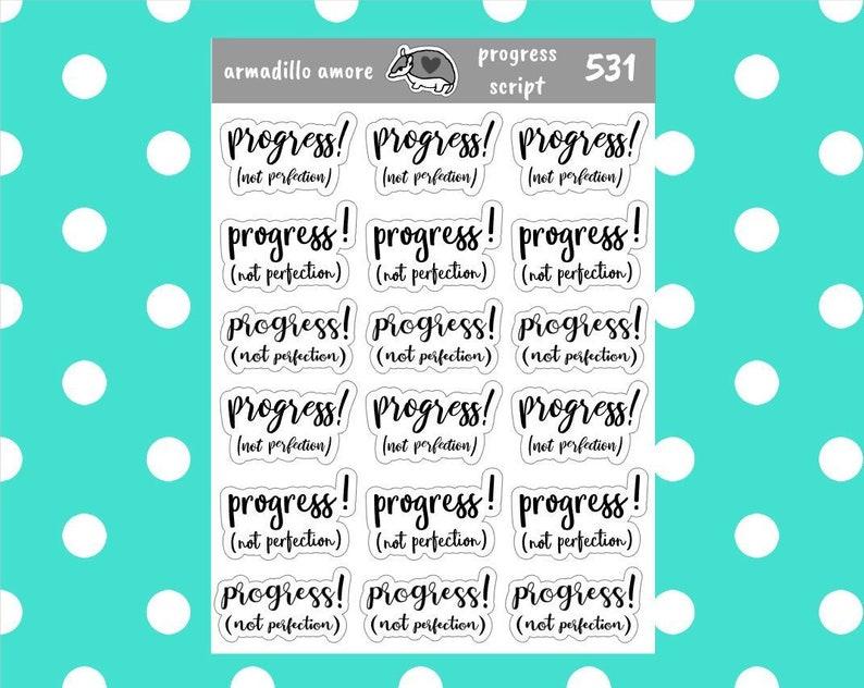 Inspiration Premium Quality Progress not Perfection Script Stickers 531 Cursive Matte Typography