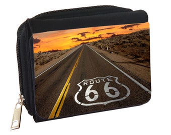 Retro Retro Historic Route 66 Road Sign Fabric Wallet Jewelry Storage Travel Wallet Travel Jewelry Organizer Clear Pocket Jewelry Case