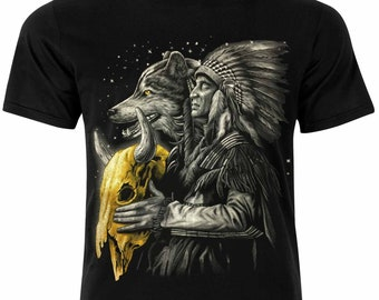 48a3d7fb Native American Indian Chief Wolf T-Shirt