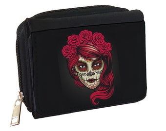 Candy-skulls-sugar-skulls Credit Card With Zipper Wallet Business Casual Hand Wallet