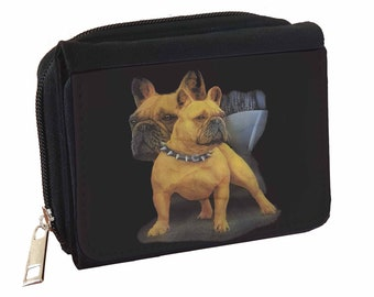 Bull Dog  Design Leather Purse with Zipped Pocket RFID Safe Ladies Gift 047