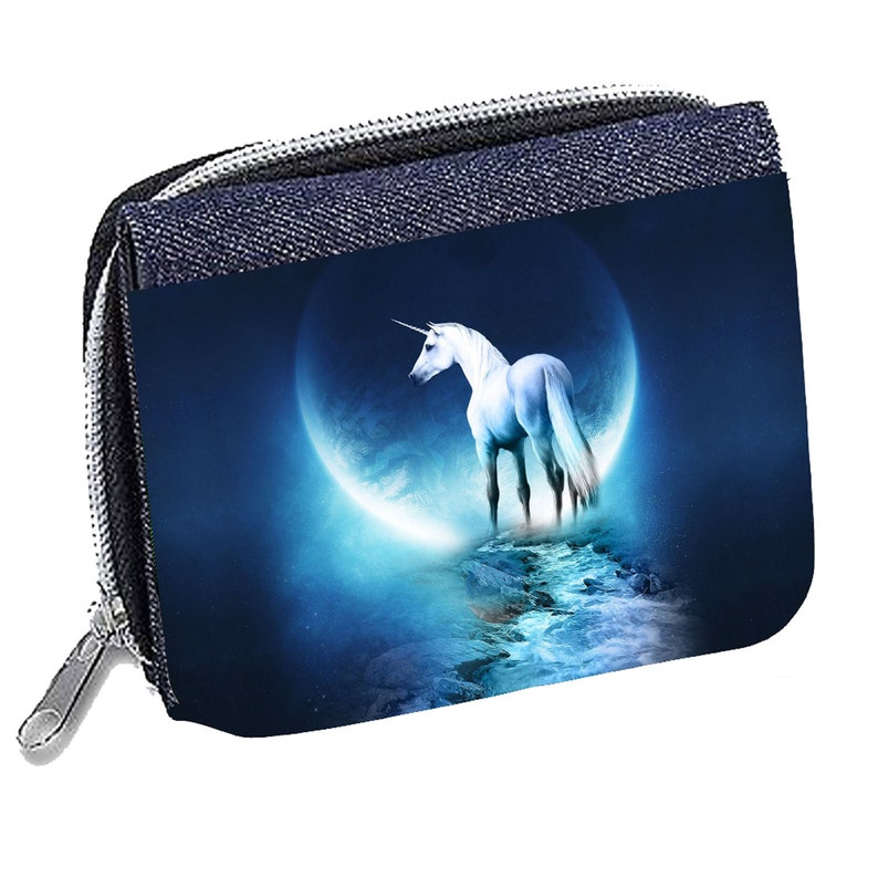 White Wolf Dreamcatcher Personalised Denim Wallet