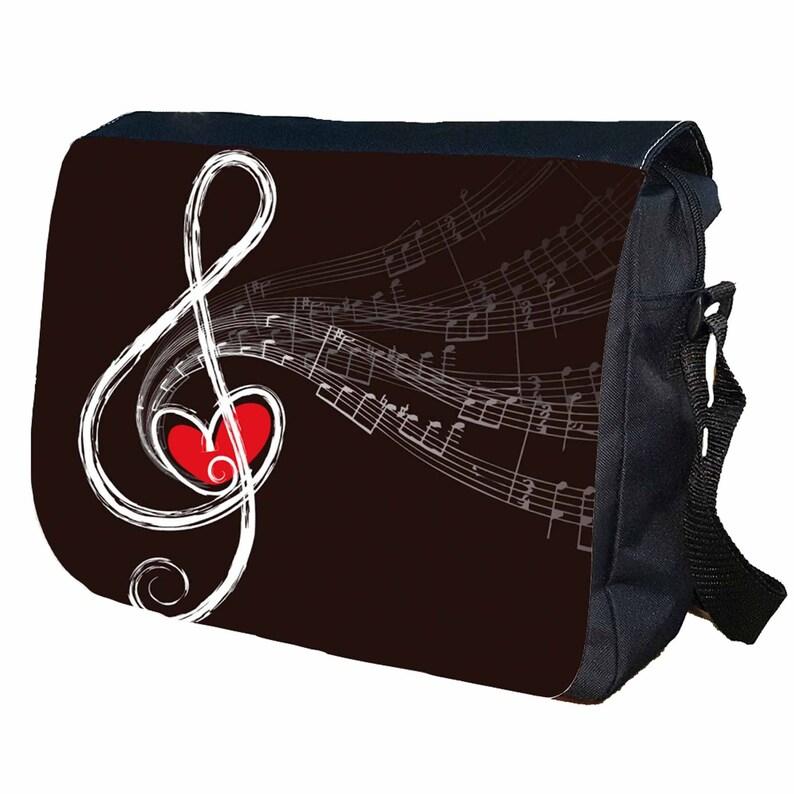 Music Note Personalised Messenger Shoulder Bag