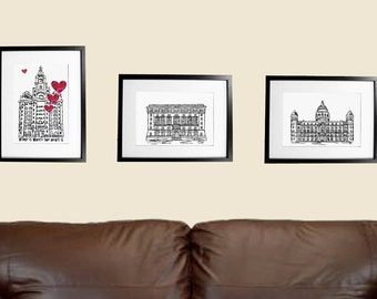 Set of three Liverpool Prints - Three Graces prints - Liverpool prints - Liverpool landmark prints - Set of 3 prints - new home gift