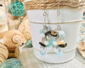 Ready-to-Ship, Square Wood, Tumbled Coral Stone, White Glass Rondelle, Turquoise Simulated Amazonite, Beaded, Charm, Boho, Beach, Earrings