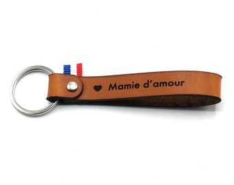 """Leather key ring """"Mamie d'amour"""""""