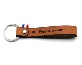 """Leather key ring """"Papy d'amour"""""""