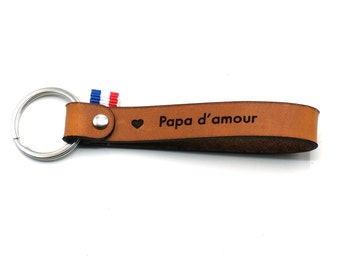 """Leather key ring """"Papa d'amour"""""""